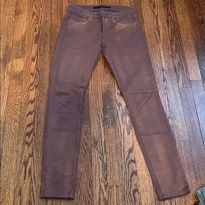 Joes the skinny jeans. Metallic burgundy color.